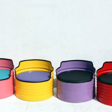 metal drum furniture multi colour.