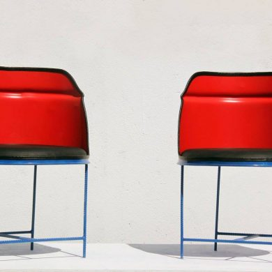 Red and blue drum chairs.