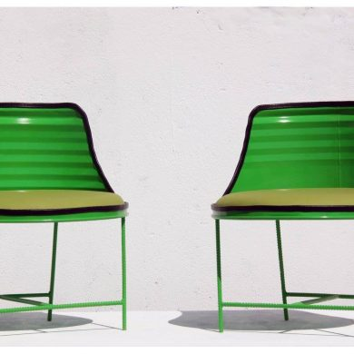 Green drum chairs