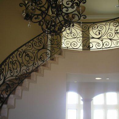 Steel stair case railing
