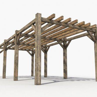 Stained wood pergola