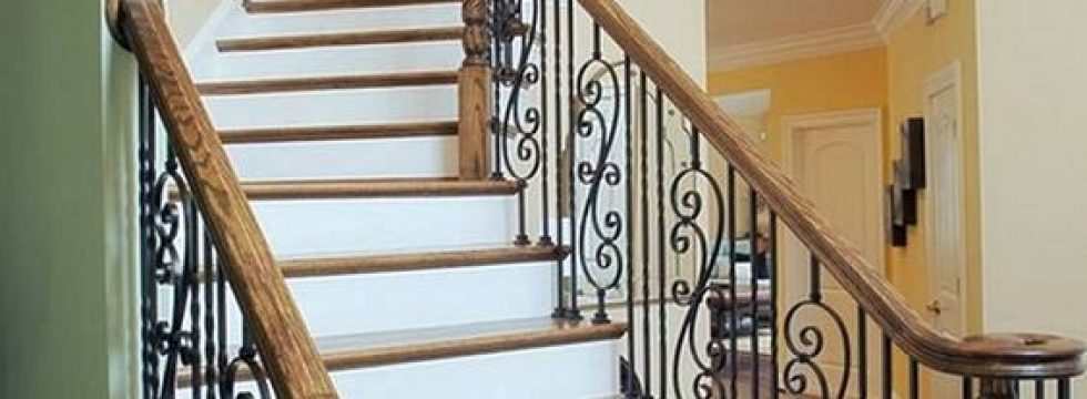 Wrought iron scroll railing